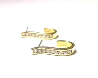 14k Yellow Gold Post Back Diamond Earrings Pierced - Weight 2.7 Grams - Half Hoop # 778