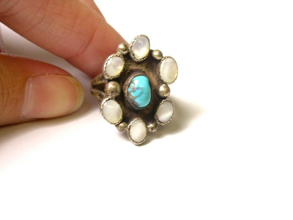 Reserved Silver Turquoise and Mother of Pearl Flower Ring - Size 4.5 - Weight 6 Grams - Southwestern # 541