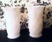 Duo vintage white milk glass vases