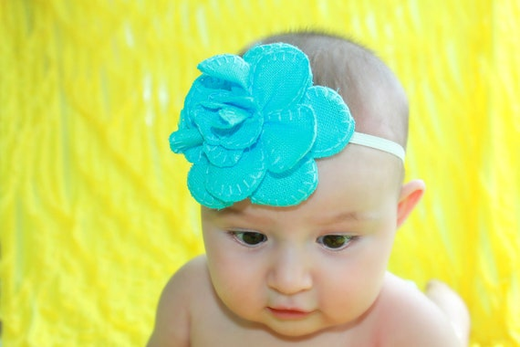 Bright Turquoise Linen Fabric Stitched Flower Headband for Baby Girl