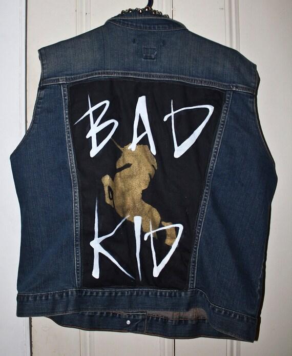 "Lady Gaga Inspiried Bad Kid Studded Denim Vest Size 42"" (medium-large)"