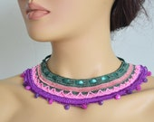 hand knitted natural stone authentic necklace green ribbon pink purple wedding bridesmaids gift jewelry