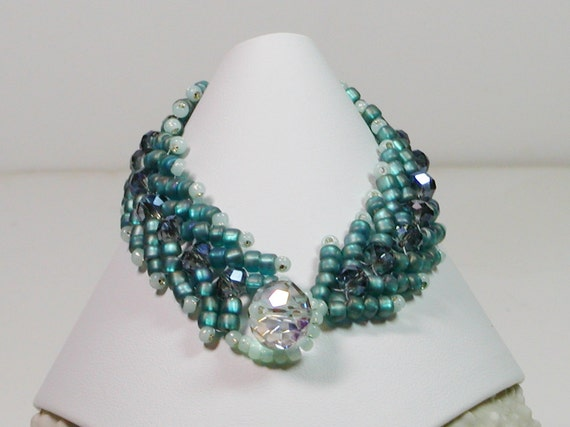 Bracelet, Bead Weaving, Teal Seed Beads and Crystal