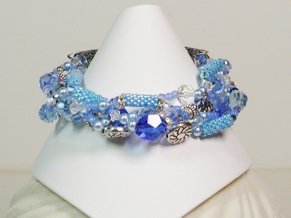 Blue Crystal Bracelet, 5 Strand, Bead Weaving