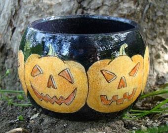 """Wood Bracelet - Wood Bangle """"Jack O Lantern"""" / Free Shipping"""