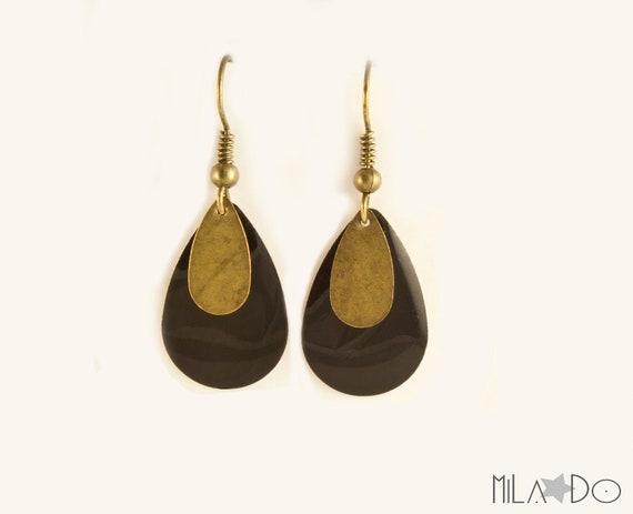 Boucles d'oreilles Gouttes email et bronze noir