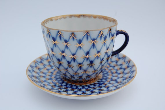 VINTAGE  Russian Porcelain Coffee or Tea Cup and Saucer, USSR Porcelain