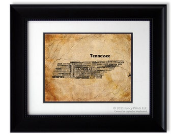 TENNESSEE State, Tennessee Map, United States Art Print, Geographic Wall Art, Historical Map Christmas Gift for him, Original Gift for Men