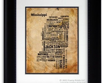 Father's Day Gift for Him MISSISSIPPI State Collage Map of Cities Housewarming Gift Wedding Gift Unique Print