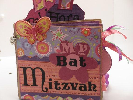 Bat Mitzvah - Paper Bag Scrapbook - Mini Album - Brag Book - Photo Holder - Memory Book - Smash Book