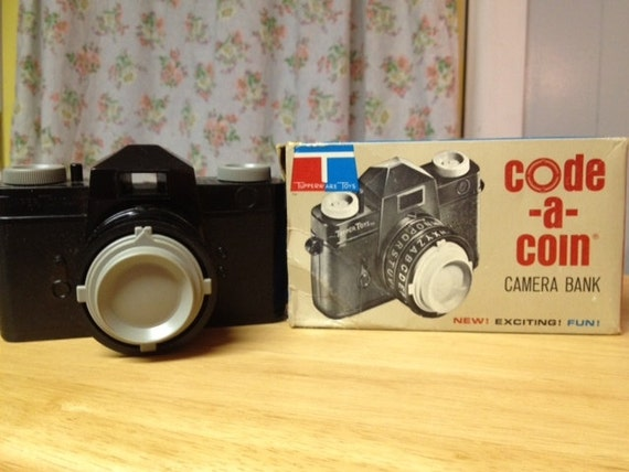 "Vintage camera bank - ""code a coin"" - made by Tupperware, Rexall drugs in 1966, includes original box"