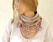 Hand Knit  Muticolored Fall Cowl Scarf for her / Fall Peach Neckwarmer / Tube Wrap Europeanstreetteam - LikeFreja