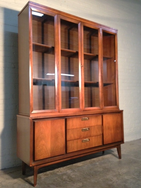 Mid Century Danish Modern China Cabinet Hutch Bookcase