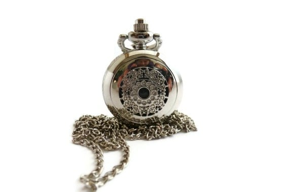Necklace clock fancy silver engraved