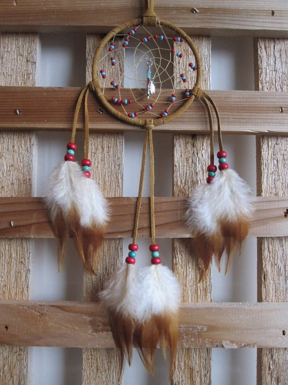 Gift Set  Tan Suede Dream Catchers with Two Toned Rooster Saddle Feathers