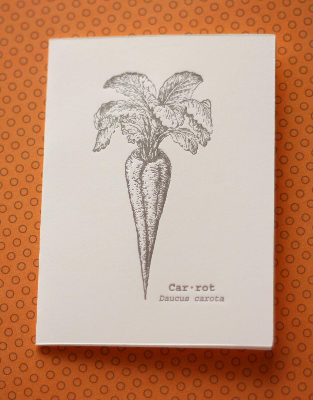 Letterpress Card Vintage-style Garden Card Carrot Card