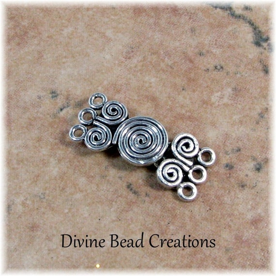 24mm Bali Sterling Silver Triple 3 Strand Spiral Hook Clasp One Set