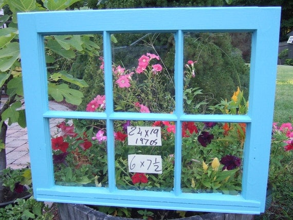 Vintage Window sash old blue 6 pane 24 x 19  from 1970s