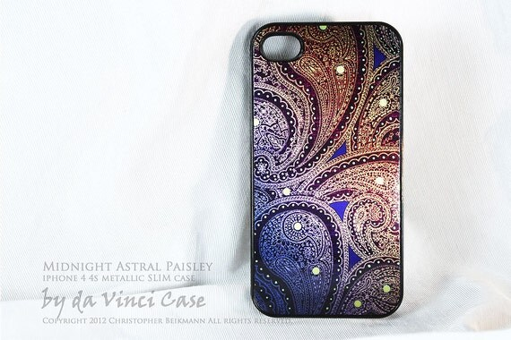 Unique Metallic iPhone 4 case - iphone 4s case - Midnight Astral Paisley - blue and gold paisley art on brushed aluminum iPhone cover