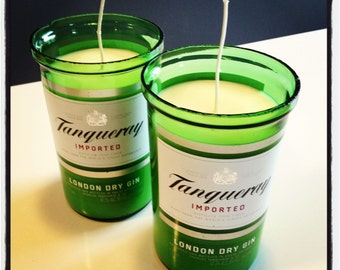 Hand Poured Gin Martini Scented Soy Candle in Cut Tangueray Gin Bottle