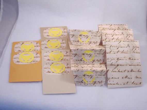 6 Blank Decorated Cards & Matching Envelopes - Repurposed Paper