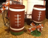 Set of two Football King Beer Mug and Football Queen wine glass