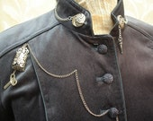 Grey/Blue Velvet Military Style Steampunk Coat SZ Small - talamhruel