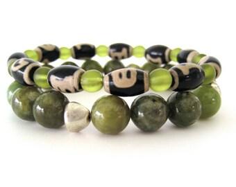 Beaded Stretch Bracelets - Olive and Dzi Agate Bracelets - Bracelet Set - Women's Bracelets - WS1230