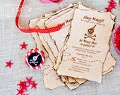 Pirate Party Invitations- Hand Burned- Set of 10