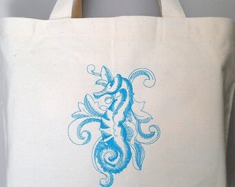 Seahorse Tote Bag Embroidery Beach