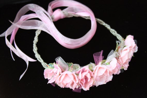 Glittered Pink Tea Roses with Glass Beaded Wreath- Handmade Floral Headpiece