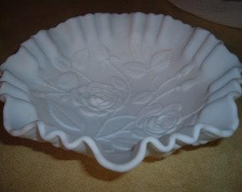Vintage Satin Milk Glass Bowl Fluted Rim High Relief Roses