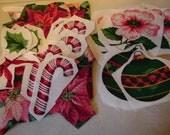 Cotton Christmas Applique Cutouts One Hundred Percent Cotton