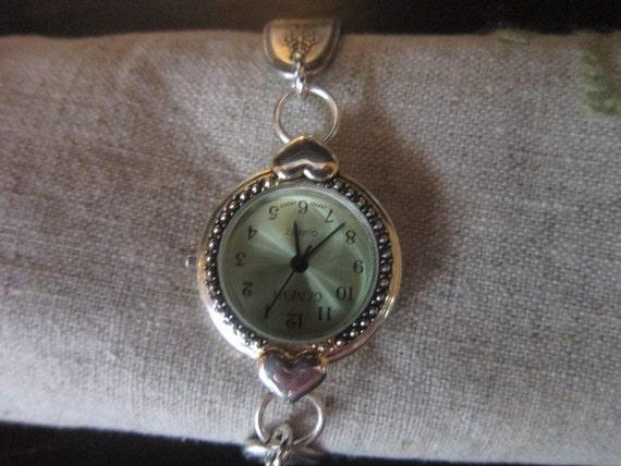 Silverware Bracelet Watch - Silver Spoon Jewelry - Antique Flatware