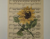 Sunflower Print sheet music print vintage music book page art