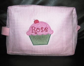 Custom Waffle Cosmetic Bag With Personalized Cupcake