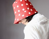 Womens Hats - Flapper vintage Style red white  polka dot  retro cloche SALE