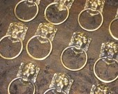 Gorgeous Vintage Brass Lion Drawer Pulls-Cabinet Pulls-Vintage Hardware-Romantic Shabby Cottage-Victorian-Upcycle-Altered Art