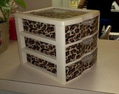 Three Drawer Plastic Organizer - Leopard Pattern