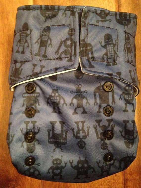 One-Size Cloth Diaper Cover: Robots Print in Aplix