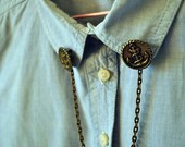 Nautical Collar Tips - Vintage Metal Buttons with Chain - Anchor Brooch - Blouse Collar Tips