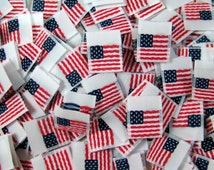 500 pcs Folded Double Sided White American Flag - Red White & Blue Woven Clothing Sewing Labels