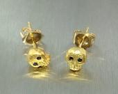 Black Diamond Skull Earrings - Gold Plated