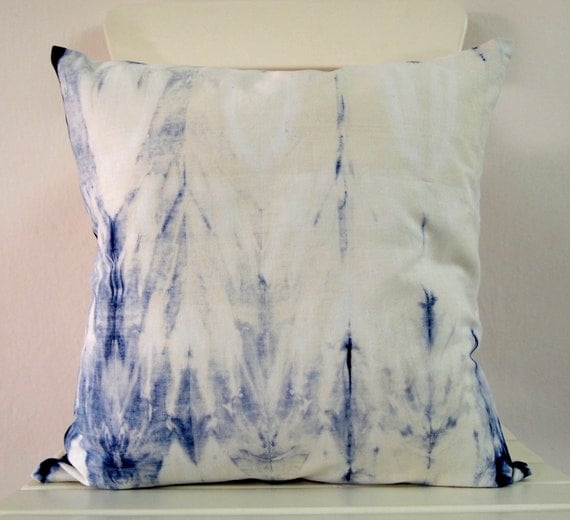Decorative Throw Pillow Cover - Navy Blue - Unique Abstract Pattern - Hand Dyed Fabric - 14 x 14 - Batik - Tie Dye - Shibori