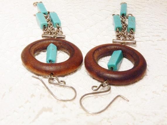 Sterling Silver, Wooden Hoop Turquoise Tassels