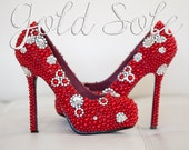 Red Bridal Shoes with Pearls and Rhinestones