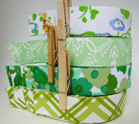 handmade fabric tape in greens made from vintage linens - for craft wrap packaging wedding supply
