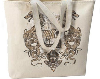 Nordic Sailing Dragon New Oversize Tote Bag, All Purpose, Overnight, Getaways, Beach