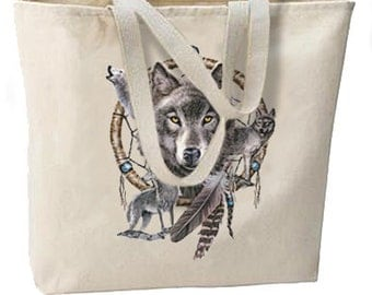 Dreamcatcher Wolves New Overnight Canvas Tote Bag, All Purpose