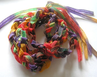 Rainbow Colored Tie Dye Crocheted Bracelet